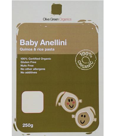 Quinoa Rice Baby Anellini Gluten Free Olive Green Organic(250g)
